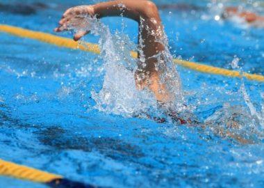 ばしゃっと水しぶきをあげて泳ぐ