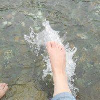 ばちゃりと水面を蹴る