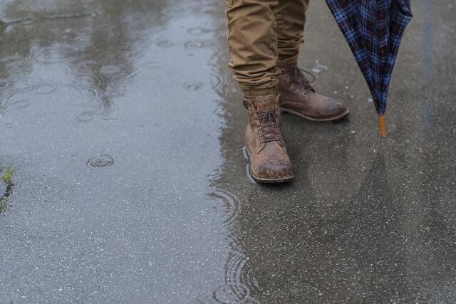 びしゃびしゃに濡れる地面