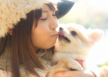 犬とちゅーする女性