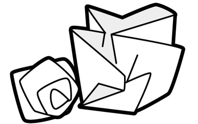 紙がぐしぐしに丸められる