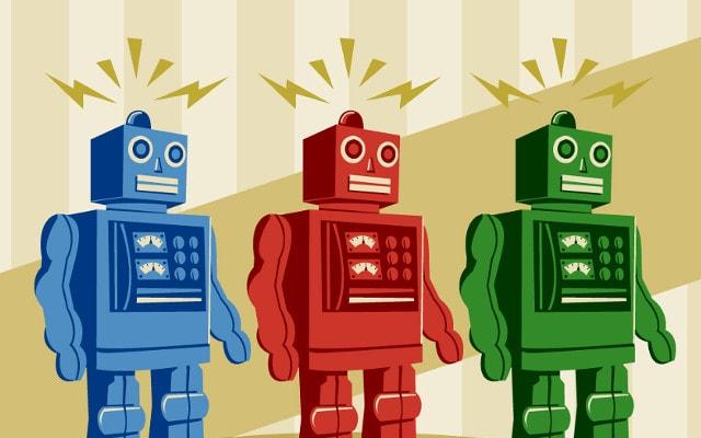 ういーんがしゃん。ロボットが動く。