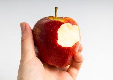 がりっとリンゴをかじる