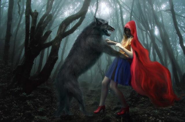 ばさっと狼が赤ずきんを襲い、ずきんがばさっと乱れる